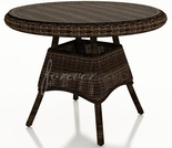 "Wicker Forever Patio Leona 30"" Round Dining Table with Glass Top"