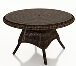 "Wicker Forever Patio Leona 42"" Round Dining Table with Glass Top"