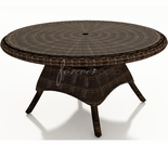 "Wicker Forever Patio Leona 48"" Round Dining Table with Glass Top"