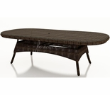 "Wicker Forever Patio Leona 84"" Oval Dining Table with Glass Top"