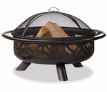 Wood Burning Oil Rubbed Bronze Outdoor Firebowl w/ Geometric Design