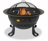 Wood Burning Oil Rubbed Bronze Outdoor Firebowl w/ Stars and Moons