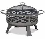 Wood Burning Outdoor Firebowl w/ Geometric Design