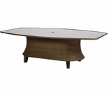 "Woodard Del Cristo Wicker 47"" Oval Umbrella Table w/ Glass Top"