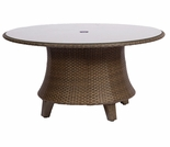 "Whitecraft by Woodard Del Cristo Wicker 54"" Round Umbrella Table w/ Glass Top"