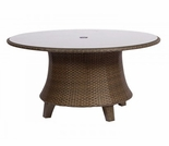 "Woodard Del Cristo Wicker 54"" Round Umbrella Table w/ Glass Top"