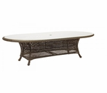"Whitecraft by Woodard Serengeti Wicker 47"" Oval Dining Table w/ Glass Top"