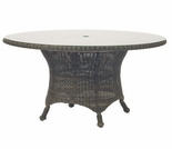 "Whitecraft by Woodard Serengeti Wicker 54"" Round Dining Table w/ Glass Top"
