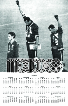 "1968 Olympics Black Power 2015 Wall Calendar 11"" X 17"""