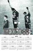 "1968 Olympics Black Power 2014 Wall Calendar 11"" X 17"""