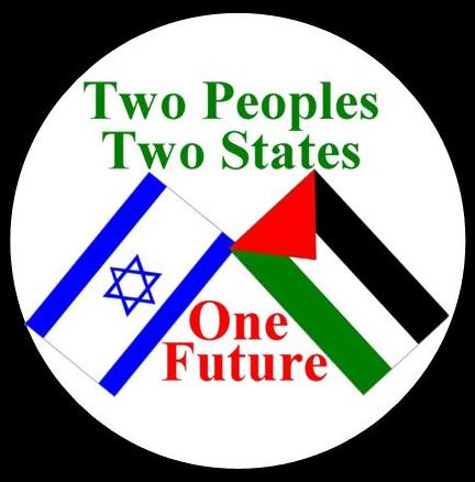 Two Peoples, Two States Israeli Palestinian Flag Peace Button