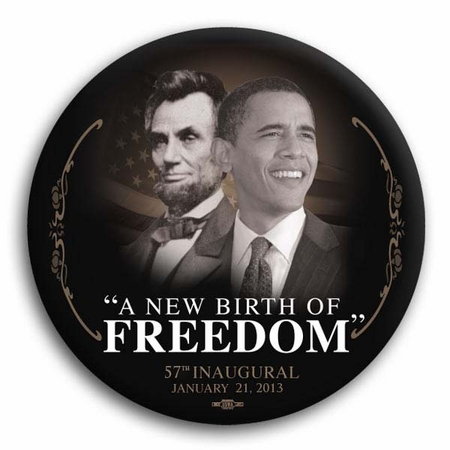 "Barack Obama / Lincoln ""A New Birth of Freedom"" 57th Inaugural Commemorative Button 3"""