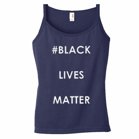 Black Lives Matter Spaghetti String Tank Top - Navy Blue - Say No To Racism - Show Your Solidarity!