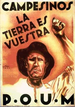 """""""Campesinos The Land Is Yours"""" Spanish Civil War Poster 11 x 17"""""""