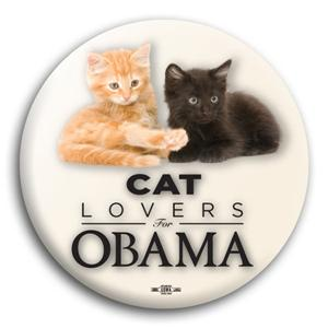 Cat Lovers for Obama Button 3""