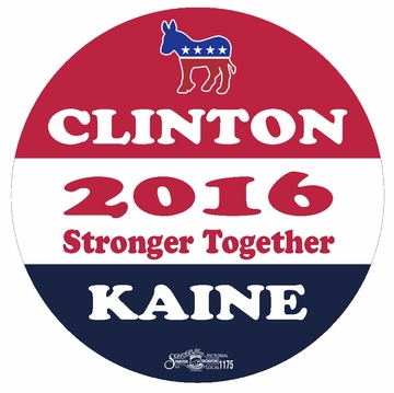 Clinton Kaine 2016 Stronger Together Button