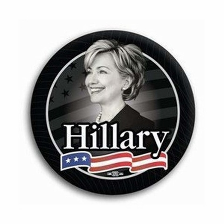 Hillary For President Black Button - Available in 3 Sizes!