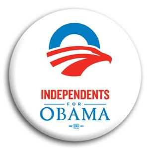 """Independents for Obama Button 3"""""""