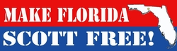 Make Florida Scott Free  Red and Blue Bumper Sticker As Low As 50 Cents!