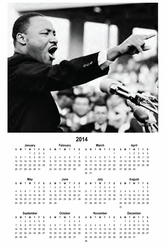 "Martin Luther King Jr. 2014 Wall Calendar 11"" X 17"""