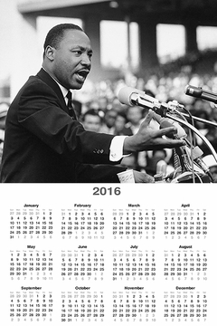 "Martin Luther King Jr. 2016 Wall Calendar 11"" X 17"""