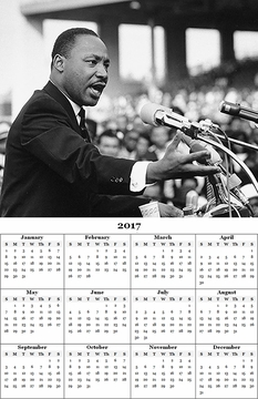 "Martin Luther King Jr. 2017 Wall Calendar 11"" X 17"""