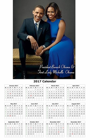"Barack and Michelle Obama 2017 Wall Calendar 11""x 17"""