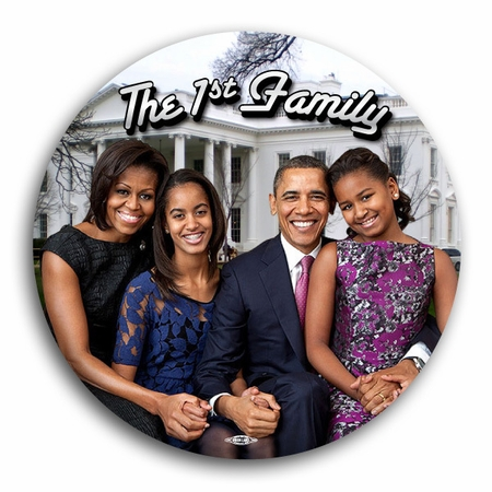 New 2012 Obama First Family Pin Button