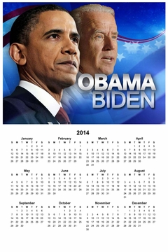 Obama Biden Flag Wall Calendar 11x 17in.