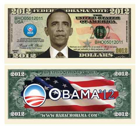 Obama Commemorative 2012 Dollar BIll Bookmark