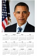 Obama Portrait 2014 Wall Calendar 11 x 17""