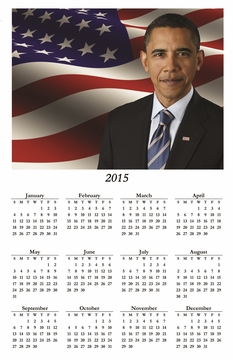 Obama Portrait 2015 Wall Calendar 11 x 17""