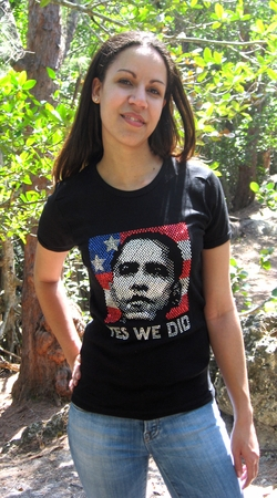 "Obama Rhinestone ""Yes We Did"" Scoop Neck Shirt"