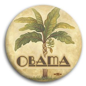"""Palm Tree Obama for President Button 3"""""""