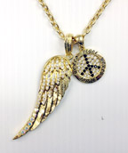 Peace and Angel Wing Charm Necklace