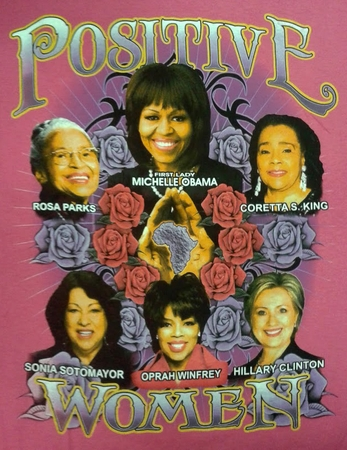 Positive Women Pink T-Shirt With Michelle Obama & Hillary Clinton- Two Sided!