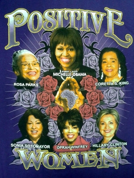 Positive Women Purple T-Shirt With Michelle Obama & Hillary Clinton- Two Sided!