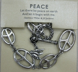 SILVER PEACE SIGN AND DOVE BRACELET