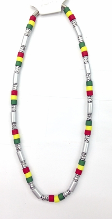 Silver Rasta Surfer Necklace