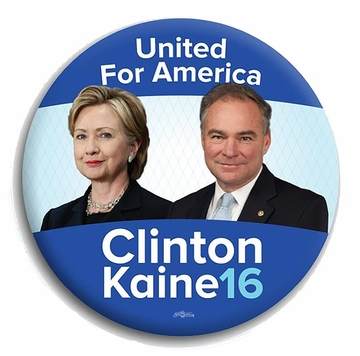 """United for America"" Clinton Kaine 2016 Button"