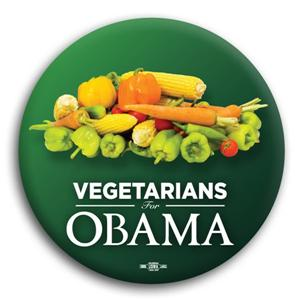 Vegetarians for Obama Button 3""