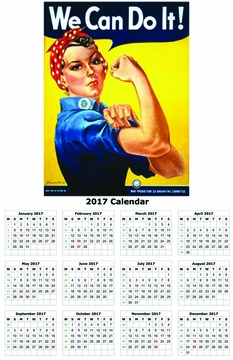 "We Can Do It 2017 Wall Calendar 11"" X 17"""