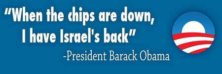 """""""When The Chips Are Down I Have Israel's Back"""" Obama Bumper Sticker"""