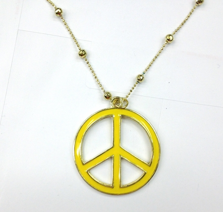 Yellow Peace Sign Necklace