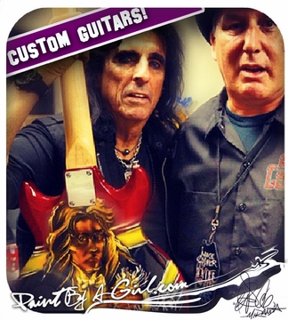 "ALICE COOPER!!  - ""Welcome To MY Nightmare!""- Custom painted guitar"