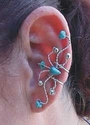 #70tq  Silver and Turquiose Fanned Ear Cuff