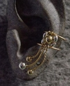#7723 Gold and Silver Three Drape Cluster Ear Cuff