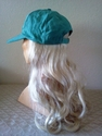Green Baseball cap with pale blonde hair attached