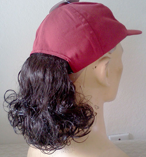 Baseball Cap With Curly Brown Ponytail