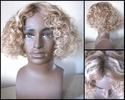 Human Hair synthetic BLEND Curly Hilited wig